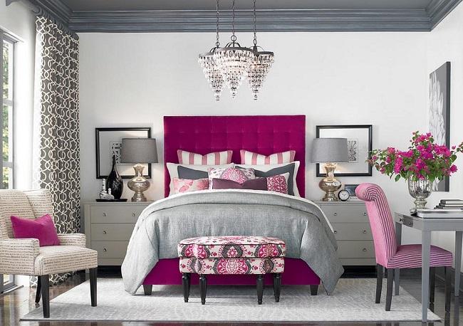 4-dormitor clasic decorat in gri cu accente mov