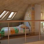 4-dormitor la etajul casei din lemn in forma de dom Domosfera