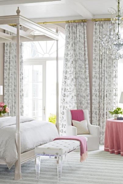 4-draperii cu imprimeu floral decor de primavara dormitor cu accente roz