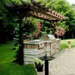 4-dulapuri inzidite blat de lucru gratar si plita bucatarie de vara in gradina casei