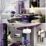 4-exemplu de amenajare a unei bucatarii moderne in combinatie de alb cu violet deschis