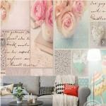 4-fototapet cu carti postale si fragmente din scrisori perete living modern