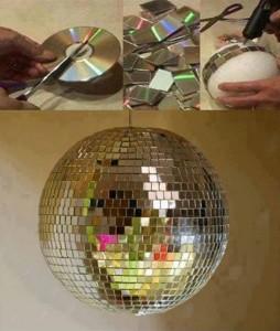 4-glob disco handmade decorat cu bucati de cd