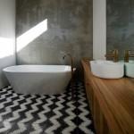 4-gresie cu imprimeu geometric in alb si negru decor baie moderna minimalista
