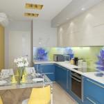4-idee amenajare mobila bucatarie albastru cu fag si perete galben