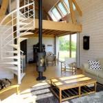 4-interior casuta din lemn cu mezanin si scara interioara