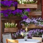 4-jardiniere din lemn cu flori violet si albe decor balcon sau terasa