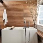 4-lambriu orizontal lemn decor perete baie moderna minimalista in stil asiatic