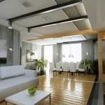 4-largirea vizuala a unui spatiu lung cu ajutorul parchetului si grinzilor de pe tavan