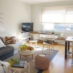 4-living cu dining decor modern minimalist accente rustice apartament 50 mp