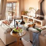 4-living cu semineu casa cu elemente decorative rustice