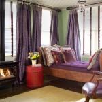 4-living elegant amenajat in violet aubergine cu verde mentolat