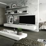 4-living modern cu mobilier alb pe fundal cu aspect marmura