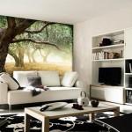 4-living modern foto tapet copac batran verde