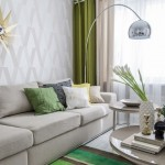 4-living modern mic decorat in tonuri de bej si gri cu verde Greenery culoare de accent