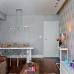4-loc de luat masa amenajat intre living si bucatarie open space apartament modern mic