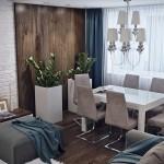 4-loc de luat masa amenajat la fereastra unui living lungi si ingust