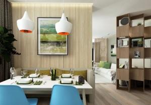 4-loc de luat masa cu scaune bleu in bucataria moderna