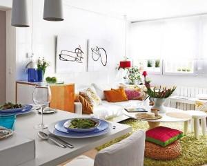 4-loc luat masa si living open space apartament tineresc si colorat