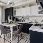 4-masa alba si scaune gri asortate mobilei bicolore din bucatarie