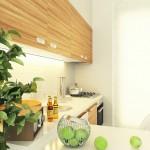 4-mobila bucatarie fronturi culoarea lemnului si blat alb design modern pe colt
