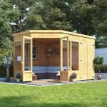 4-model de casuta de lemn pentru gradina cu spatiu pentru unelte sau baie