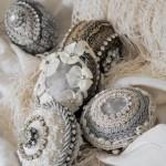 4-oua vintage ornate cu dantela margele si strassuri pentru masa de Paste