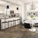 4-parchet maro cu tenta gri decor bucatarie moderna in alb si negru