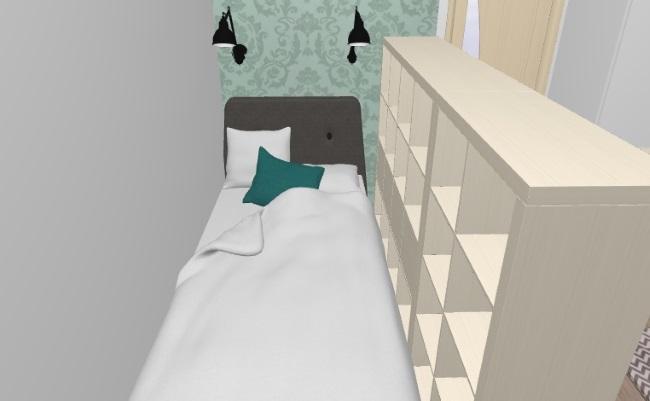 4-pat de o persoana ascuns in spatele a doua etajere amenajare garsoniera 30 mp