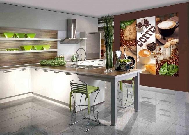 4-perete decorat cu fototapet bucatarie moderna minimalista