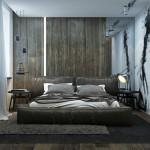 4-perete dormitor masculin design minimalist industrial cu perete placat cu parchet