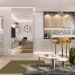4-perete placat cu oglinzi living open space amenajare apartament mic 2 camere