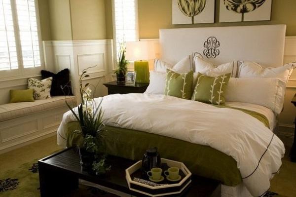 4-perete si accente decorative olive dormitor elegant alb
