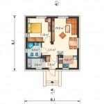4-plan compartimentare interior casa 46 mp cu 1 dormitor si camera tehnica