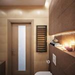 4-polita decorativa din gips carton deasupra toaletei suspendate din baie moderna