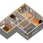 4-randare 3D interior casa mica din lemn cu mini terasa Mossfield Cottage