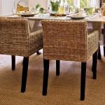 4-scaune impletite din lemn de rattan si covor din iuta interior loc de luat masa bucatarie eco rustica