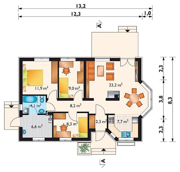 schita casa 81 mp parter 3 dormitoare