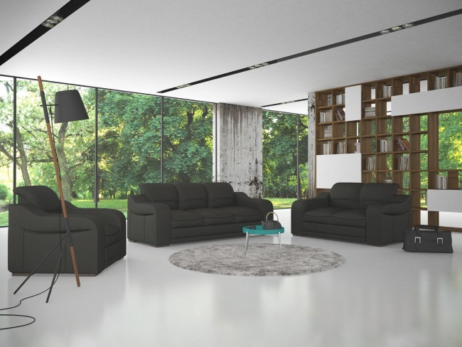 4-set Lorena canapea extensibila 3 locuri canapea 2 locuri si un fotoliu fix design modern Casa Rusu