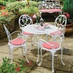 4-set masa si scaune din fier forjat pentru curte mica