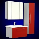 4-set modern mobila baie rosu si alb Merkur Acril