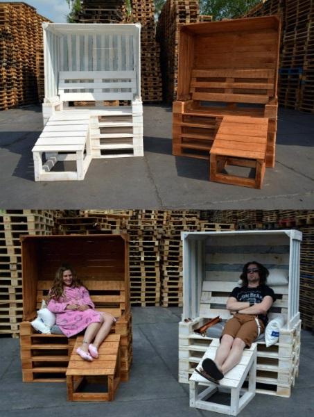 sezlonguri cu umbrar mobila DIY de gradina din paleti de lemn