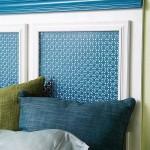 4-tablie de pat din lemn vopsit in alb cu insertie metalica vopsita in albastru
