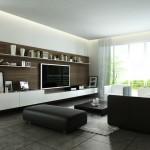 4-tv ecran plat living montat pe perete placat cu panouri din lemn