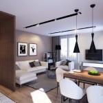 4-vedere din bucatarie spre living apartament 3 camere modern