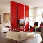4-zona de relaxare separata de locul de luat masa din living cu ajutorul unui paravan despartitor modern