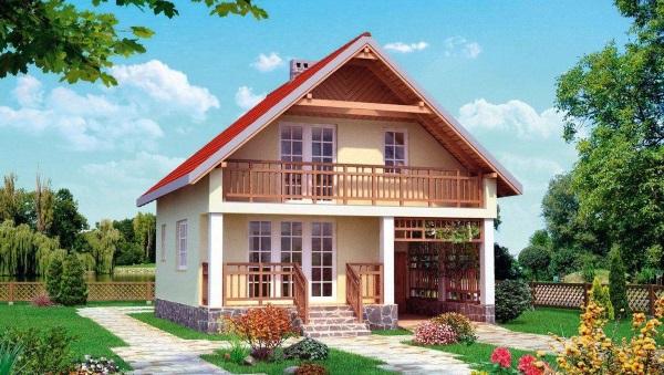 5-Fatada casa mica cu mansarda suprafata utila totala 94 mp cu garaj