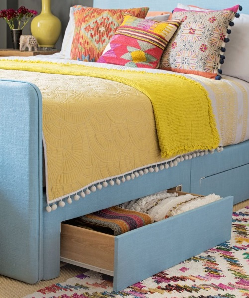 5-Pat cu sertare depozitare si organizare dormitor mic