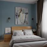 5-amenajare dormitor mic apartament in nuante de bleu si lemn