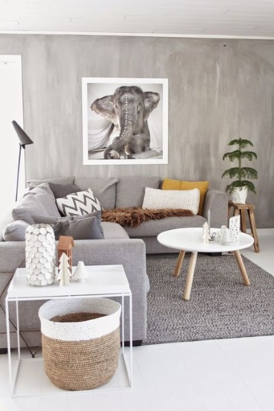 5-amenajare living gri cu accente albe si lemn natur in stil scandinav
